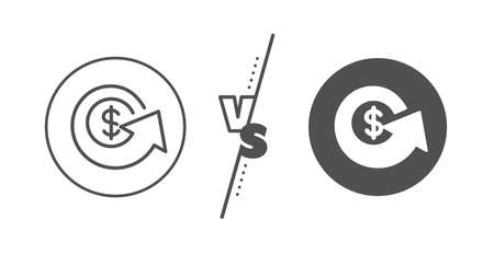 Money refund sign. Versus concept. Dollar exchange line icon. Cashback symbol. Line vs classic dollar exchange icon. Vector  イラスト・ベクター素材