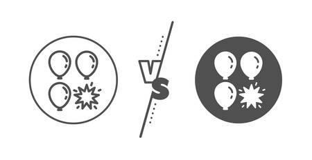 Amusement park sign. Versus concept. Balloon dart line icon. Pop the balloon symbol. Line vs classic balloon dart icon. Vector Фото со стока - 129895170
