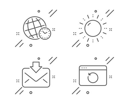 Time zone, Incoming mail and Sun energy line icons set. Recovery internet sign. World clock, Download message, Solar power. Backup info. Technology set. Line time zone outline icon. Vector