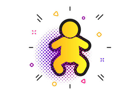 Baby infant sign icon. Halftone dots pattern. Toddler boy in pajamas or crawlers body symbol. Child WC toilet. Classic flat infant icon. Vector Illustration