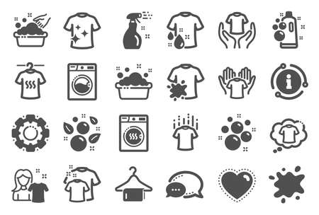 Laundry icons. Dryer, Washing machine and dirt shirt. Laundromat, hand washing, soap bubbles in basin icons. Dry t-shirt, laundry service, dirty smudge spot. Clean clothes. Quality set. Vector  イラスト・ベクター素材