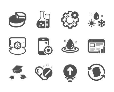Set of Science icons, such as Swipe up, Medical pills, Web report, Seo phone, Face id, Throw hats, Weather, Chemistry lab, Pie chart, Fuel energy, Cogwheel, Augmented reality. Swipe up icon. Vector