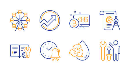 Engineering documentation, Recycle water and Ferris wheel line icons set. Alarm bell, Bitcoin system and Divider document signs. Audit, Repairman symbols. Manual, Refill aqua. Business set. Vector