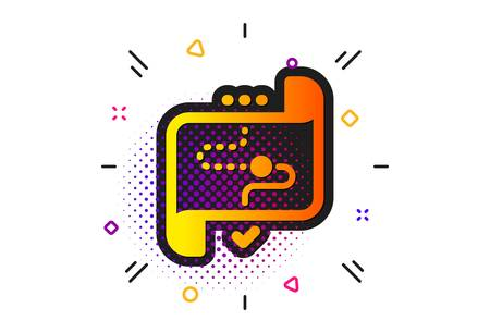 Stratery goal sign. Halftone circles pattern. Target path icon. Core value symbol. Classic flat target path icon. Vector Çizim