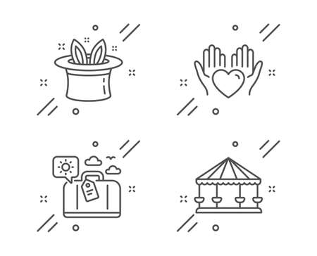 Hold heart, Hat-trick and Travel luggage line icons set. Carousels sign. Care love, Magic hat, Trip bag. Attraction park. Holidays set. Line hold heart outline icon. Vector