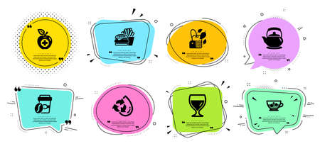 Recycle water, Mint bag and Burger line icons set. Chat bubbles with quotes. Teapot, Wine glass and Takeaway coffee signs. Medical food, Cold coffee symbols. Refill aqua, Mentha tea. Vector