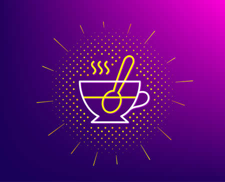 Cup with spoon line icon. Halftone pattern. Fresh beverage sign. Latte or Coffee symbol. Gradient background. Tea cup line icon. Yellow halftone pattern. Vector Çizim