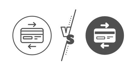 Bank payment method sign. Versus concept. Credit card line icon. Online Shopping symbol. Line vs classic credit card icon. Vector