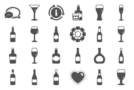 Wine bottle icons. Set of Craft beer, Whiskey and Wine glass icons. Champagne bottle, Alcohol drink and Scotch with ice. Wineglass, Beer glass and Restaurant goblet signs. Beverage drink. Vector Illustration
