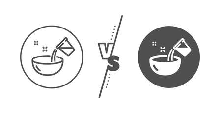 Bowl sign. Versus concept. Cooking add water line icon. Food preparation symbol. Line vs classic cooking water icon. Vector