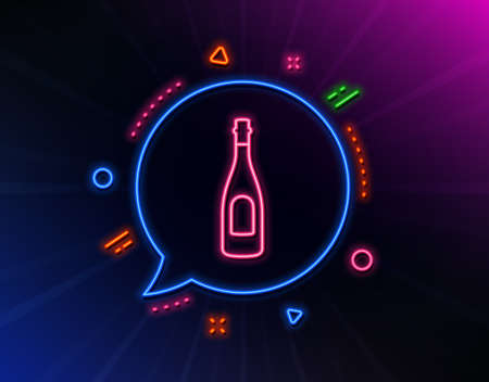 Champagne bottle line icon. Neon laser lights. Anniversary alcohol sign. Celebration event drink. Glow laser speech bubble. Neon lights chat bubble. Banner badge with champagne icon. Vector