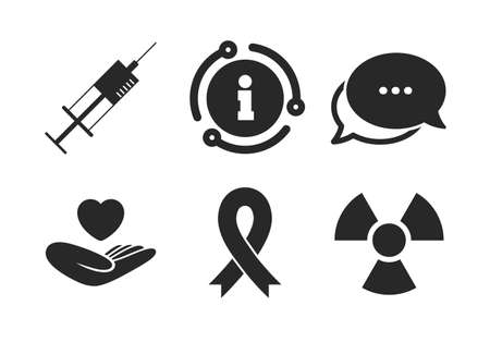 Syringe, life insurance, radiation and ribbon signs. Chat, info sign. Medicine icons. Breast cancer awareness symbol. Hand holds heart. Classic style speech bubble icon. Vector Illustration