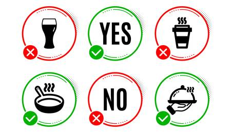 Beer glass, Frying pan and Takeaway icons simple set. Yes no check box. Restaurant food sign. Brewery beverage, Cooking utensil, Takeout coffee. Room service. Food and drink set. Vector Illusztráció