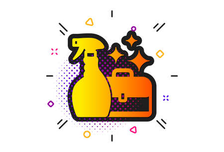 Washing liquid or Cleanser symbol. Halftone circles pattern. Cleaning spray icon. Housekeeping service sign. Classic flat cleanser spray icon. Vector Vectores