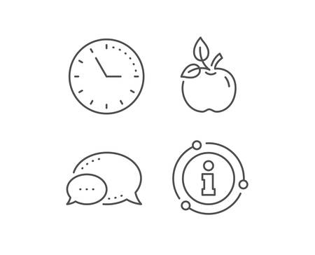 Eco food line icon. Chat bubble, info sign elements. Organic tested sign. Fair trade symbol. Linear eco food outline icon. Information bubble. Vector