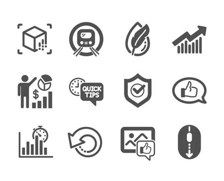 Set of Technology icons, such as Hypoallergenic tested, Like photo, Quick tips, Seo statistics, Recovery data, Scroll down, Feedback, Metro subway, Report timer, Approved shield. Vector Ilustração