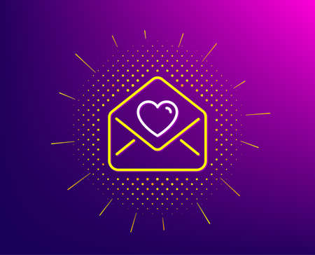 Love letter line icon. Halftone pattern. Heart mail sign. Valentine day symbol. Gradient background. Love letter line icon. Yellow halftone pattern. Vector