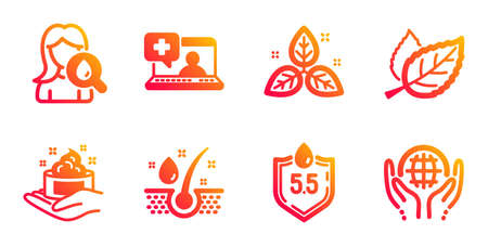 Medical help, Leaf and Fair trade line icons set. Moisturizing cream, Skin care and Serum oil signs. Ph neutral, Organic tested symbols. Medicine laptop, Nature leaves. Healthcare set. Vector