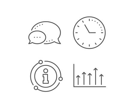 Growth chart line icon. Chat bubble, info sign elements. Financial graph sign. Upper Arrows symbol. Business investment. Linear growth chart outline icon. Information bubble. Vector
