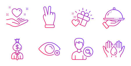 Love gift, Victory hand and Restaurant food line icons set. Farsightedness, Manager and Search people signs. Hold heart, Safe water symbols. Heart, Gesture palm. People set. Vector Illusztráció