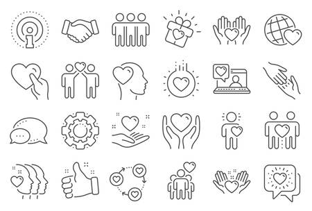 Friendship and love line icons. Interaction, Mutual understanding and assistance business. Trust handshake, social responsibility, mutual love icons. Trust friends, partnership. Line signs set. Vector Illusztráció