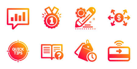 Conjunto de iconos de edición de proyecto, gestión de tiempo y línea aprobada. Consejos, ayuda y signos de cambio de dólar. Chat analítico, símbolos de pago sin contacto. Configuración, etiquetas de reloj. Conjunto de educación. Vector Ilustración de vector