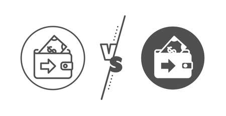 Money payment sign. Versus concept. Wallet line icon. Dollar finance symbol. Line vs classic wallet icon. Vector