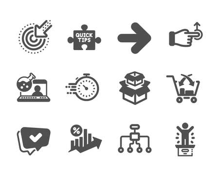 Set of Technology icons, such as Quick tips, Winner podium, Loan percent, Cross sell, Online chemistry, Approved, Restructuring, Packing boxes, Next, Drag drop, Targeting, Timer. Vector