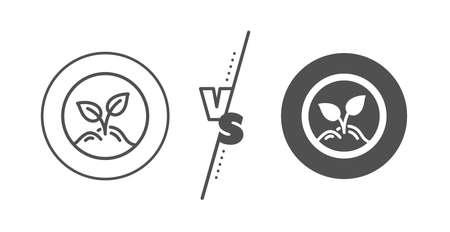 Idea leaves sign. Versus concept. Startup line icon. Launch project symbol. Line vs classic startup icon. Vector Ilustração