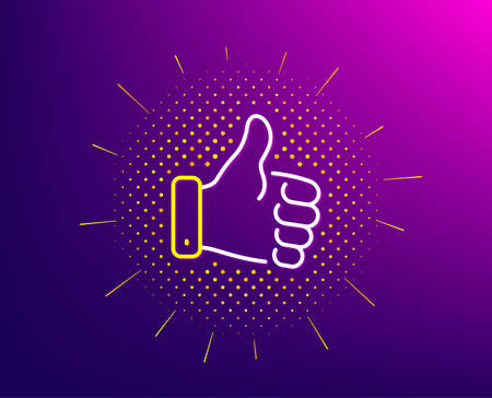 Like hand line icon. Halftone pattern. Thumbs up finger sign. Gesture symbol. Gradient background. Like hand line icon. Yellow halftone pattern. Vector Çizim