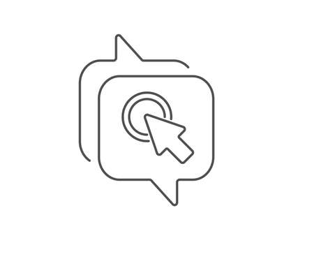 Click here line icon. Chat bubble design. Push the button sign. Web cursor symbol. Outline concept. Thin line click here icon. Vector Иллюстрация