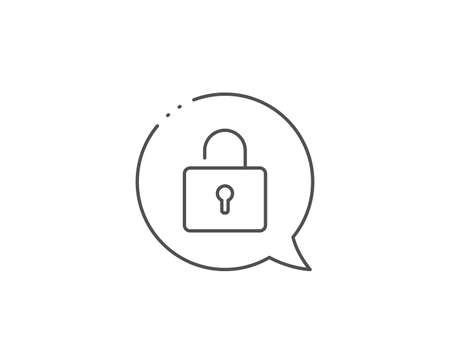 Lock line icon. Chat bubble design. Private locker sign. Password encryption symbol. Outline concept. Thin line lock icon. Vector
