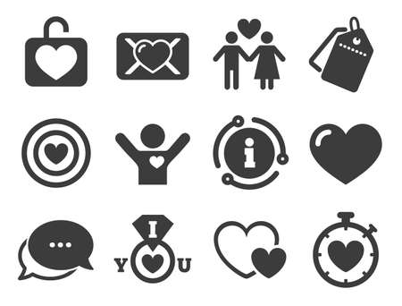 Target with heart, oath letter and locker symbols. Discount offer tag, chat, info icon. Love, valentine day icons. Couple lovers, boyfriend signs. Classic style signs set. Vector