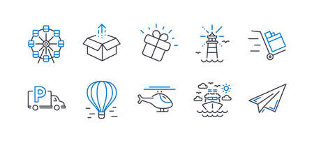Set of Transportation icons, such as Helicopter, Truck parking, Gift, Send box, Push cart, Ship travel, Lighthouse, Ferris wheel, Air balloon, Paper plane line icons. Copter, Free park. Vector