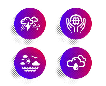 Organic tested, Travel sea and Bad weather icons simple set. Halftone dots button. Rainy weather sign. Safe nature, Summer holidays, Clouds. Rain. Nature set. Classic flat organic tested icon. Vector 写真素材 - 129943709