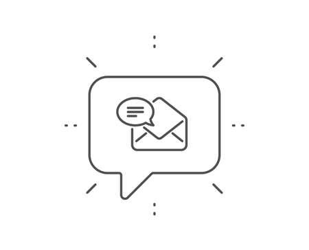 New Mail line icon. Chat bubble design. Message correspondence sign. E-mail symbol. Outline concept. Thin line new Mail icon. Vector