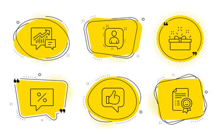 Discount message, Accounting and Smile signs. Chat bubbles. Present box, Developers chat and Like line icons set. Sale offer, Manager talk, Thumbs up. Special offer. Business set. Vector