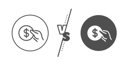 Banking currency sign. Versus concept. Hold Coin line icon. Dollar or USD symbol. Line vs classic payment icon. Vector