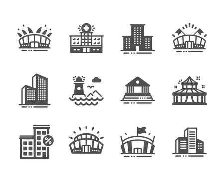 Zestaw ikon budynków, takich jak budynki drapacz chmur, latarnia morska, arena sportowa, arena, stadion sportowy, szpital, pożyczka, cyrk, budynek sądu, ikony kampusu uniwersyteckiego. Wektor