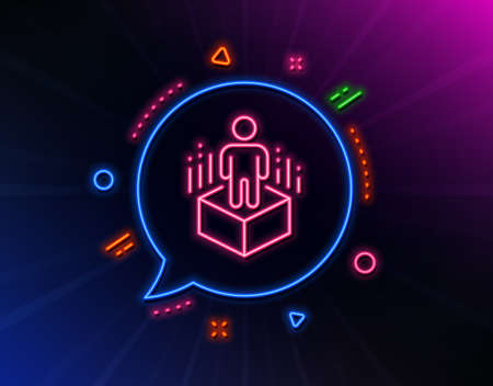 Augmented reality line icon. Neon laser lights. VR simulation sign. 3d person symbol. Glow laser speech bubble. Neon lights chat bubble. Banner badge with augmented reality icon. Vector Çizim