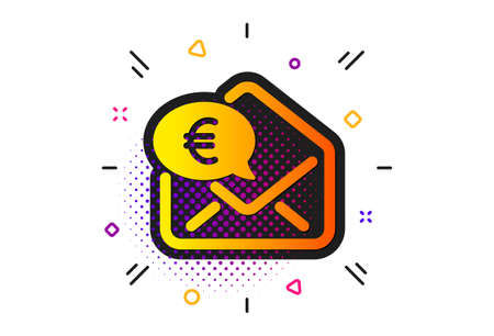 Send or receive money sign. Halftone circles pattern. Euro via mail icon. Classic flat euro money icon. Vector