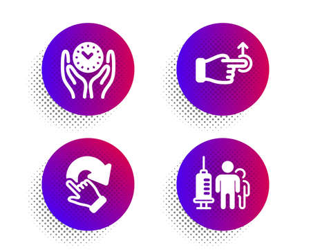 Safe time, Drag drop and Rotation gesture icons simple set. Halftone dots button. Medical vaccination sign. Management, Move, Undo. Syringe vaccine. People set. Classic flat safe time icon. Vector