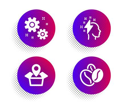 Brainstorming, Work and Package location icons simple set. Halftone dots button. Coffee beans sign. Lightning bolt, Settings, Delivery tracking. Roasted seeds. Business set. Vector