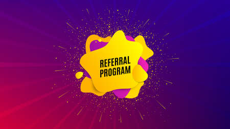 Referral program symbol. Dynamic text shape. Refer a friend sign. Advertising reference. Geometric vector banner. Referral program text. Gradient shape badge. Colorful background. Vector 向量圖像