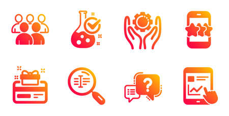 Search text, Group and Star line icons set. Employee hand, Chemistry lab and Question mark signs. Loyalty card, Internet report symbols. Find word, Developers. Technology set. Vector Illustration