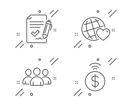 Approved agreement, Friends world and Group line icons set. Contactless payment sign. Signature document, Love, Group of users. Financial payment. Business set. Vector