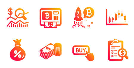 Loan, Buy button and Bitcoin project line icons set. Candlestick graph, Savings and Check investment signs. Bitcoin atm, Accounting report symbols. Money bag, Online shopping. Finance set. Vector