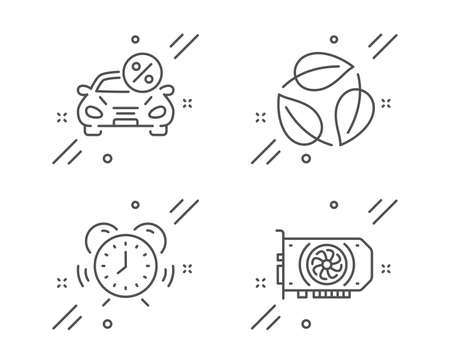 Car leasing, Leaves and Time management line icons set. Gpu sign. Transport discount, Nature leaf, Alarm clock. Graphic card. Business set. Line car leasing outline icon. Vector