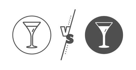Wine glass sign. Versus concept. Martini glass line icon. Line vs classic martini glass icon. Vector