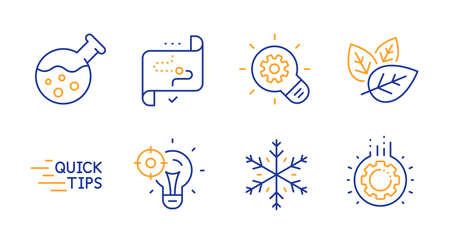 Organic tested, Chemistry lab and Snowflake line icons set. Seo idea, Education and Target path signs. Cogwheel, Gear symbols. Bio ingredients, Laboratory. Science set. Vector